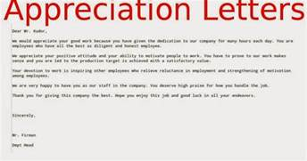 appreciation letters to employees sles business letters