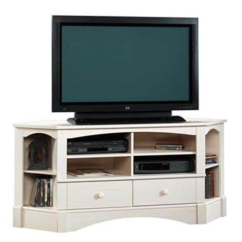 corner credenza tv sauder harbor view collection 61 in antiqued white corner