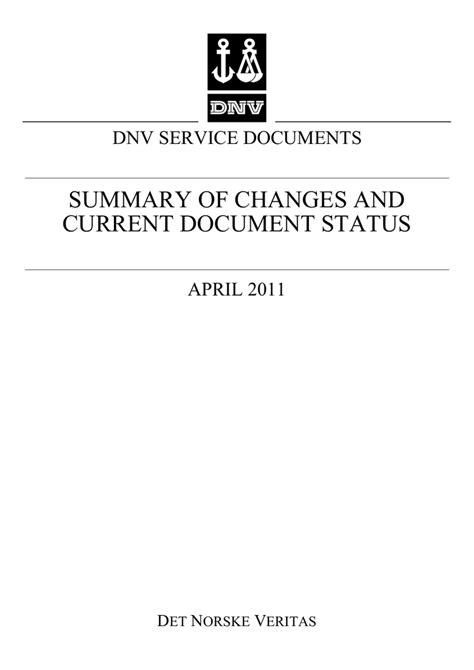 Summary of Changes - DNV Service Specifications, Standards and