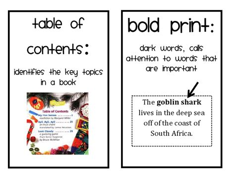 nonfiction text features clipart clip library