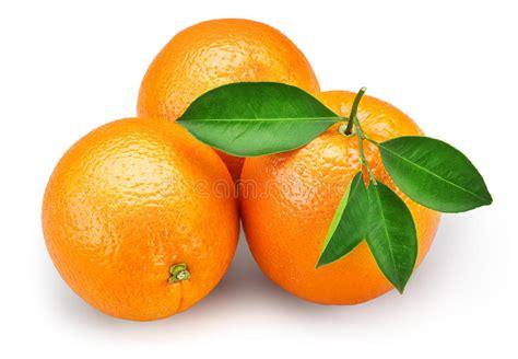 Orange Fruit With Leaves Isolated White Background