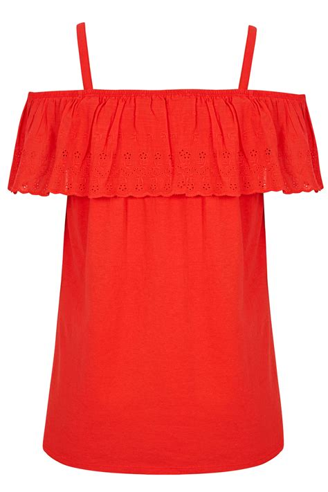 D Link Best Buy Frill Broderie Cold Shoulder Top Plus Sizes 16 To 36