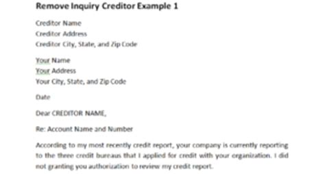 remove inquiry creditor   dispute letters  work