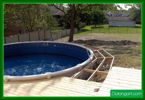 above ground round pool deck design idea home landscaping
