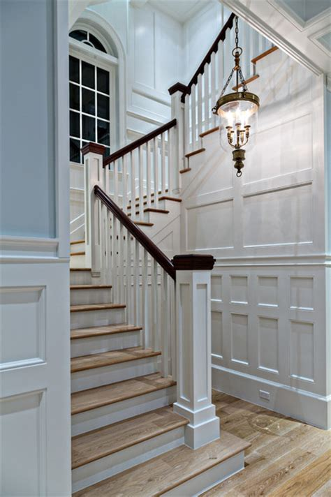 coastal paneled stairwell traditional staircase