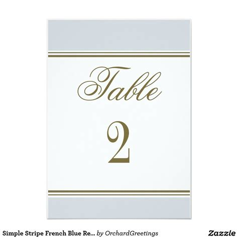 simple stripe french blue reception table number zazzle