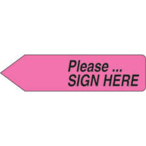 Sign Here Stickers  Pink Removable Please Sign Here