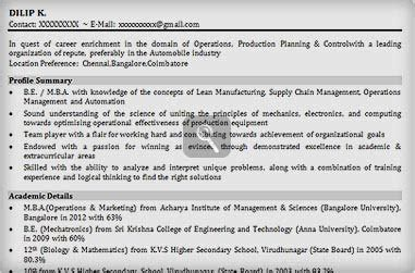resume format for freshers it engineers free
