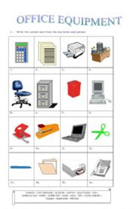 and equipment vocabulary with pictures lesson esl worksheets for adults office equipment Office