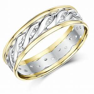 6mm 9ct yellow white gold two colour celtic wedding ring for Gaelic wedding ring