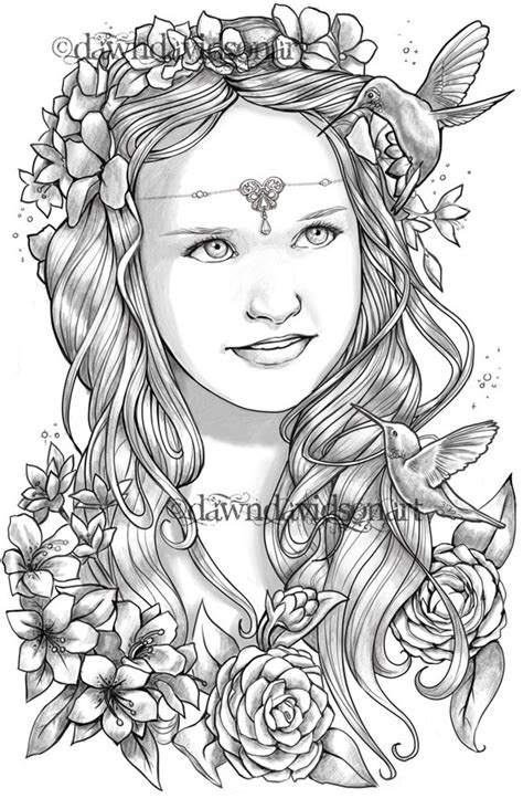 beautiful portraits coloring pages printable colouring  adults instant  grayscale