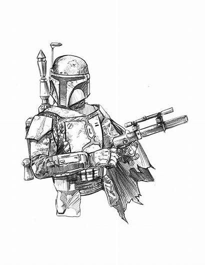 Wars Star Boba Fett Coloring Pages Drawing
