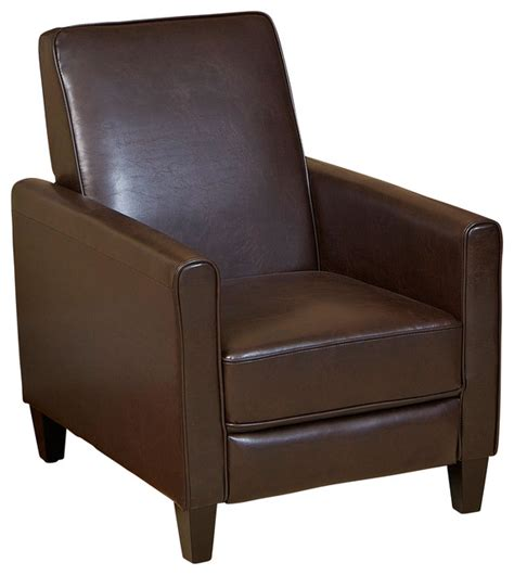 lucas brown leather recliner club chair contemporary
