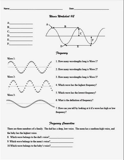 Teaching The Kid Middle School Wave Worksheet  Coop Physicsengineering  Pinterest Middle