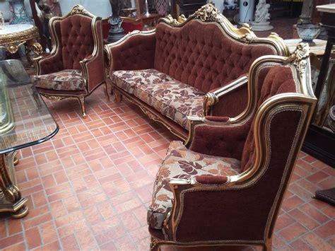 jogo de sofa classico entalhado mao folheado  ouro