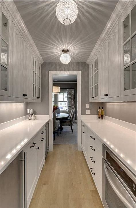 galley style butler pantry design transitional kitchen