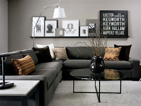 gray living room  black sectional sofa popular gray