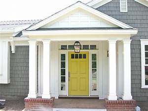 Grey House with Yellow & Red Front Door Design Ideas 2018 ...