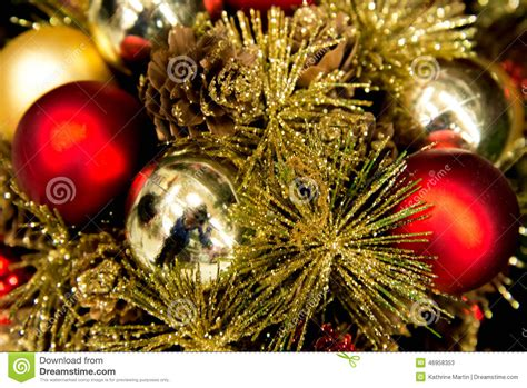 christmas decorations red  gold ornaments stock photo