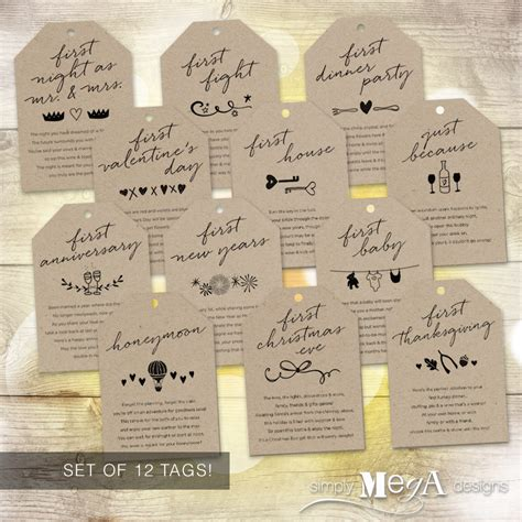 Wine Poem Bridal Shower - marriage milestone wine basket tags set of 12 bridal