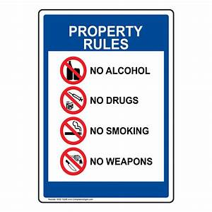 Property Rules Enforced No Alcohol Drugs Smoking Sign NHE ...