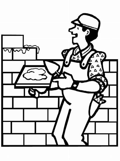 Construction Coloring Pages Worker Cliparts Equipment Brick