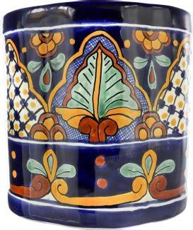 san miguel ceramic mexican talavera wastebasket