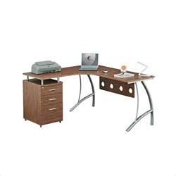 techni mobili l shape corner w file cabinet privacy panel computer desk ebay