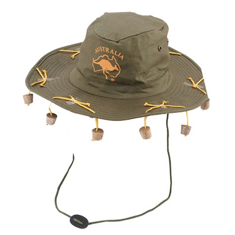 adult australian cork hat cap novelty fancy dress costume