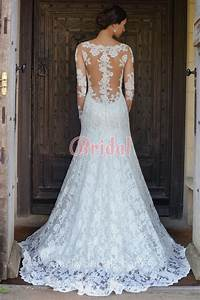 Gorgeous illusion lace back long sleeve fit and flare for Lace fit and flare wedding dress with sleeves