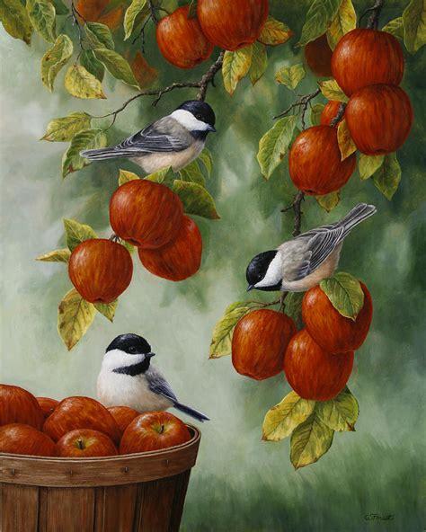 Bird Painting  Apple Harvest Chickadees Painting By