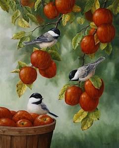 Bird Painting - Apple Harvest Chickadees Painting by