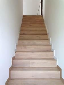 habillage d39escalier beton en parquet massif a lyon With escalier en parquet
