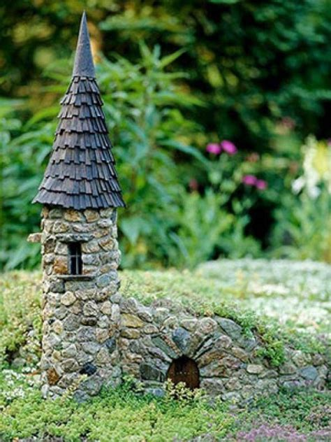 cutest miniature stone houses  beautify garden