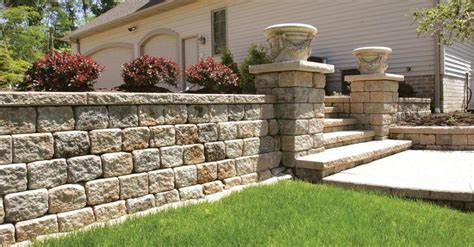 unilock retaining walls creating eye catching pillars for your kalamazoo grand