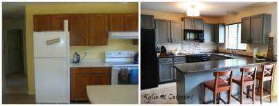 Painted Kitchen Cabinets Before And After Grey by Painted Oak Kitchen Cabinets Chelsea Gray With Gentle Cream Walls Before And