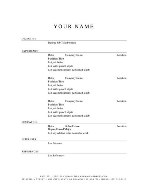 printable resume template learnhowtoloseweight net