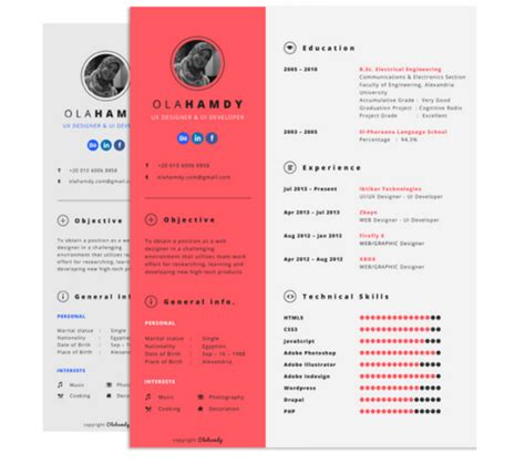 photoshop resume template 15 free creative resume templates for photoshop and illustrator