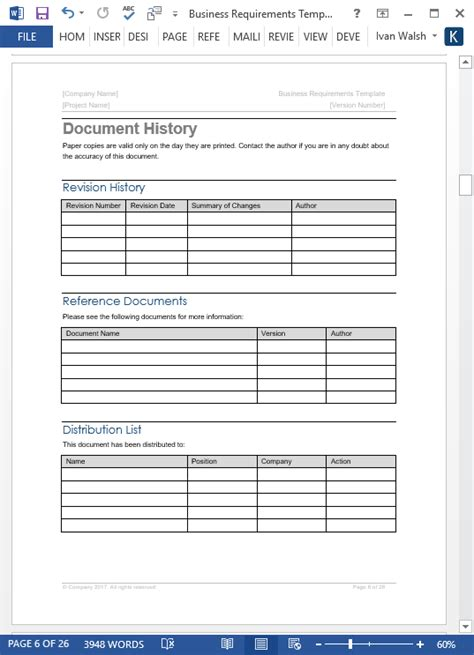 requirements template business requirements specification template 24 page ms word free excels visio