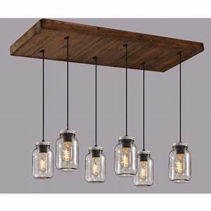 Luminaire Suspension Bois : luminaire lin aire suspendu sur base en bois avec pots mason en verre clair ~ Teatrodelosmanantiales.com Idées de Décoration
