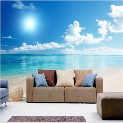 calm ocean beach blue sky wallpaper mural wall art