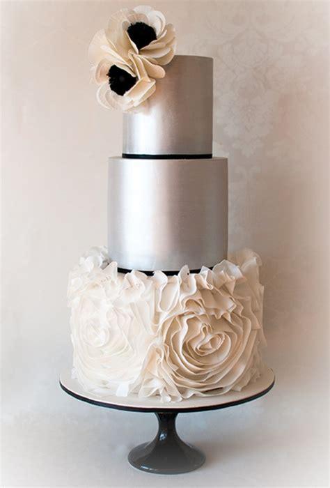 metallic silver wedding cake  ruffles brides