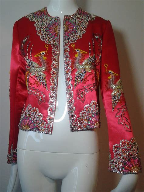 hong kong beaded  sequined phoenix bird silk