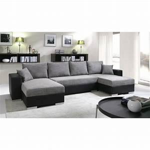 Canapé Panoramique Gris : grand canap panoramique r versible enno gris et noir achat vente canap sofa divan ~ Teatrodelosmanantiales.com Idées de Décoration