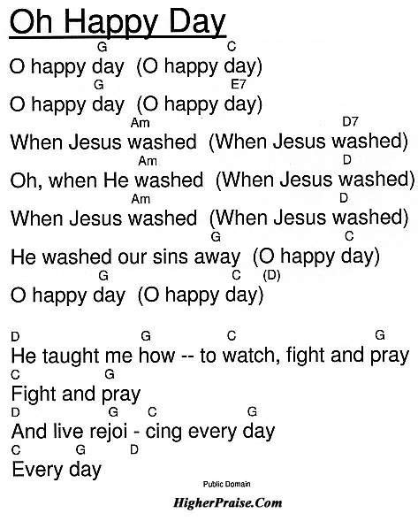 Testo Oh by Lyrics To Oh Happy Day Oh Happy Day Praise And Worship