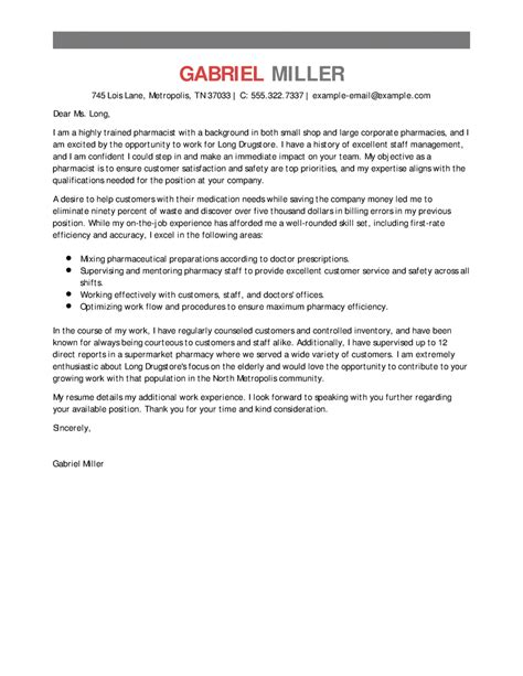 Sle Cover Letter For Pharmacist by Outstanding Pharmacist Cover Letter Exles Templates