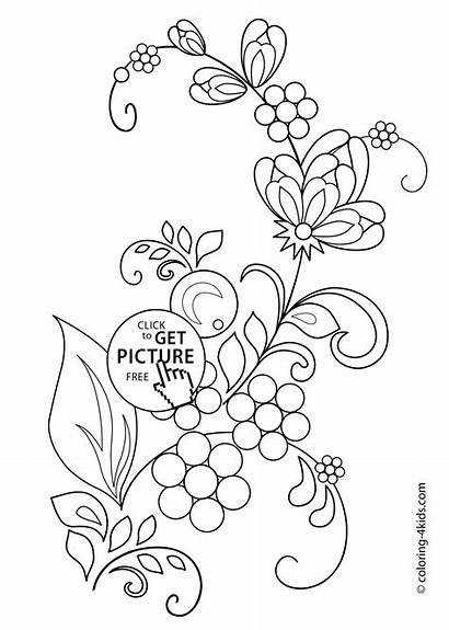 Coloring Flowers Flower Pages Drawing Drawings Printable