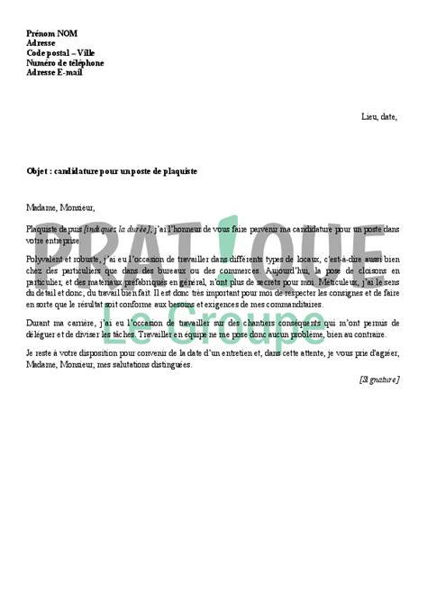 lettre de motivation pour devenir plaquiste pratique fr