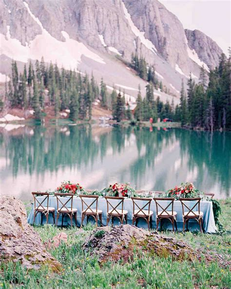 intimate lakeside rehearsal dinner   mountains