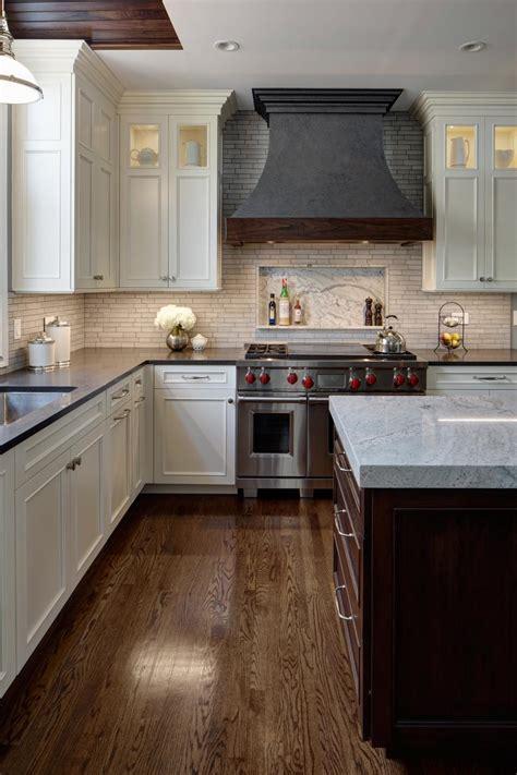 white transitional kitchen  metal hood hgtv